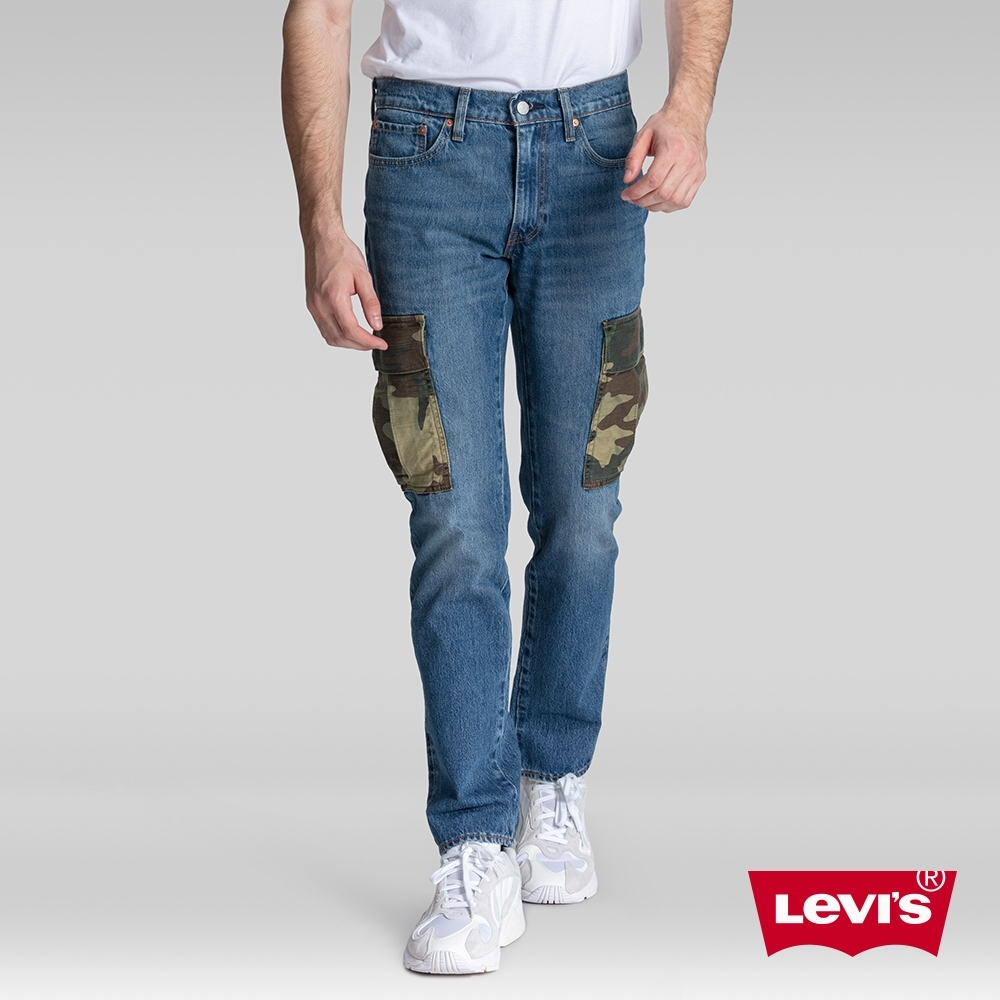 Levis 男款 511 低腰修身窄管牛仔褲 迷彩軍裝口袋拼接
