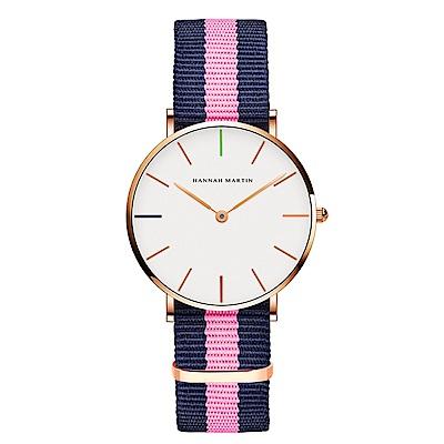 HANNAH MARTIN 彩色刻度粉藍帶腕錶-白x36mm(HM3690-B36-F7)