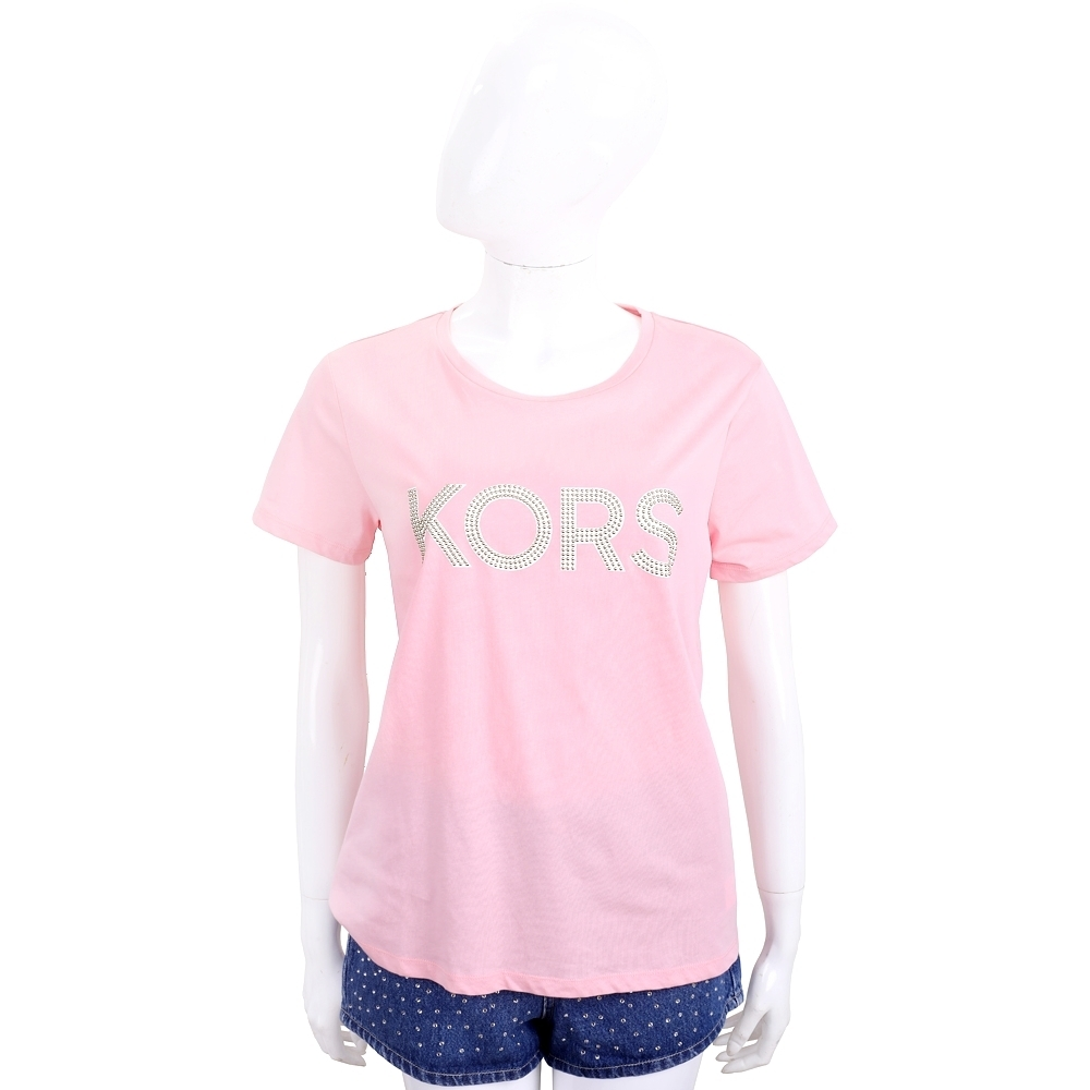 Michael Kors 鉚釘字母粉色純棉短袖T恤