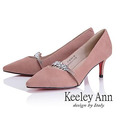 Keeley Ann 高貴典雅~唯美水鑽腳背帶全真皮中跟鞋(粉紅色-Ann)