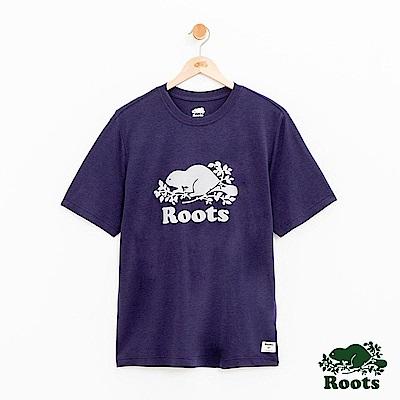 男裝-Roots 派尼頓短袖T恤-藍