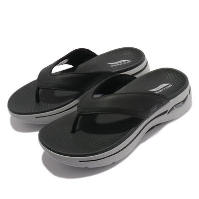 Skechers 拖鞋 Go Walk Sandal 夾腳拖 男鞋 Arch Fit 專利鞋墊 回彈 避震 黑 灰 229022BKGY
