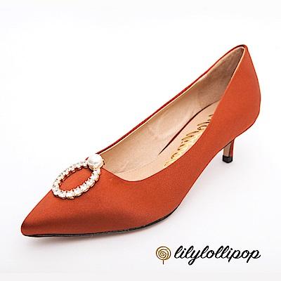 Lilylollipop-Luxury 珍珠環緞面跟鞋--栗色