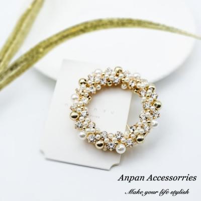 【Anpan愛扮】韓東大門MAYLEE水晶珍珠輕奢鑽貼水晶珍珠輕奢鑽貼圓形一字邊夾