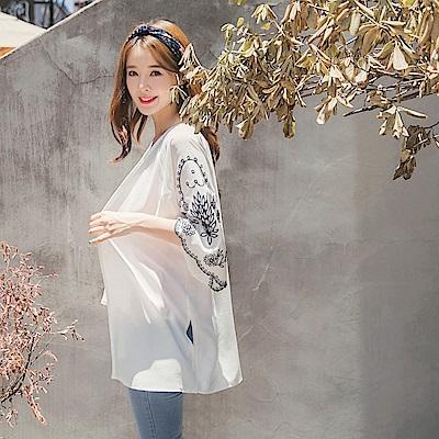 純色花朵刺繡圖案袖口側開衩造型開襟罩衫/外套-OB嚴選