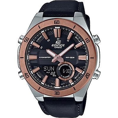 EDIFICE立體3D金屬時刻設計皮帶雙顯錶(ERA-110GL-1)玫瑰金框47.6mm