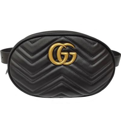 GUCCI  復古金雙G Marmont 山字紋牛皮大款腰包(黑)