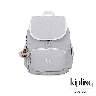 Kipling 知性淺灰撞色拉鍊掀蓋後背包-CITY PACK S