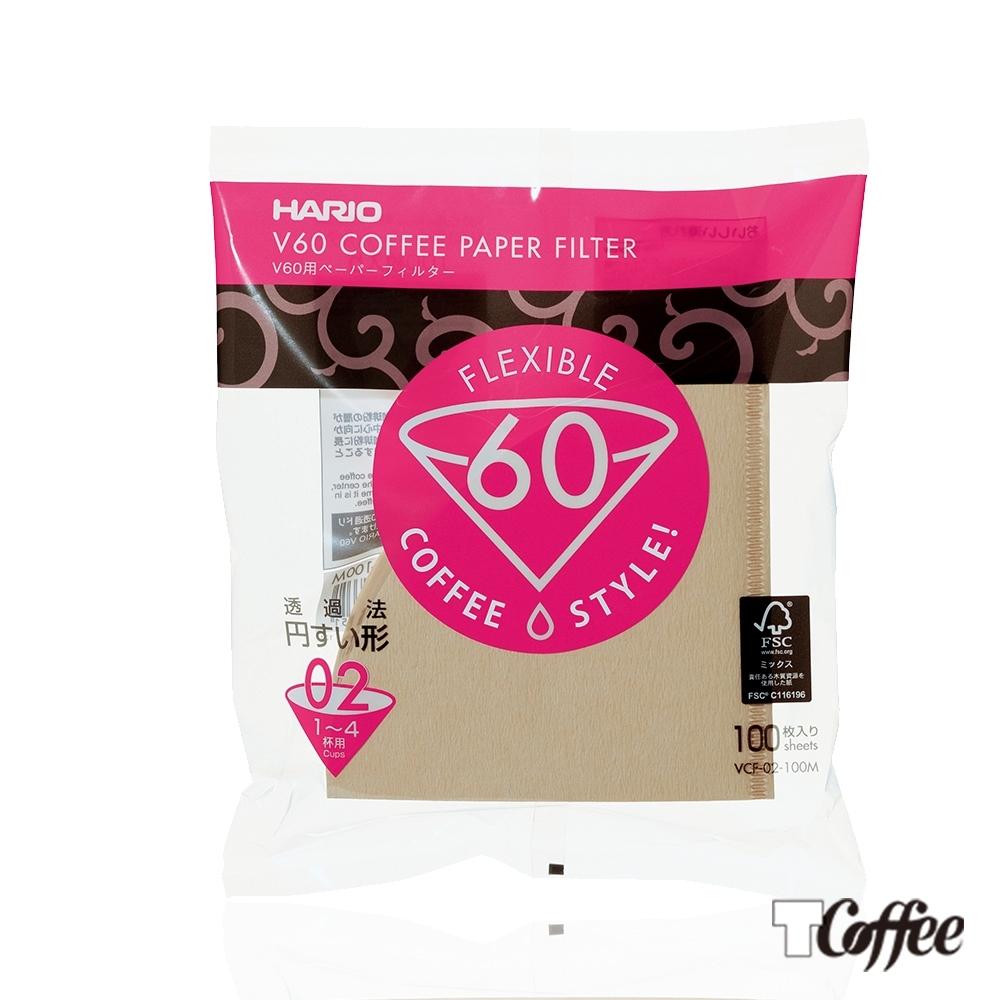 TCoffee HARIO-V60無漂白02濾紙100張
