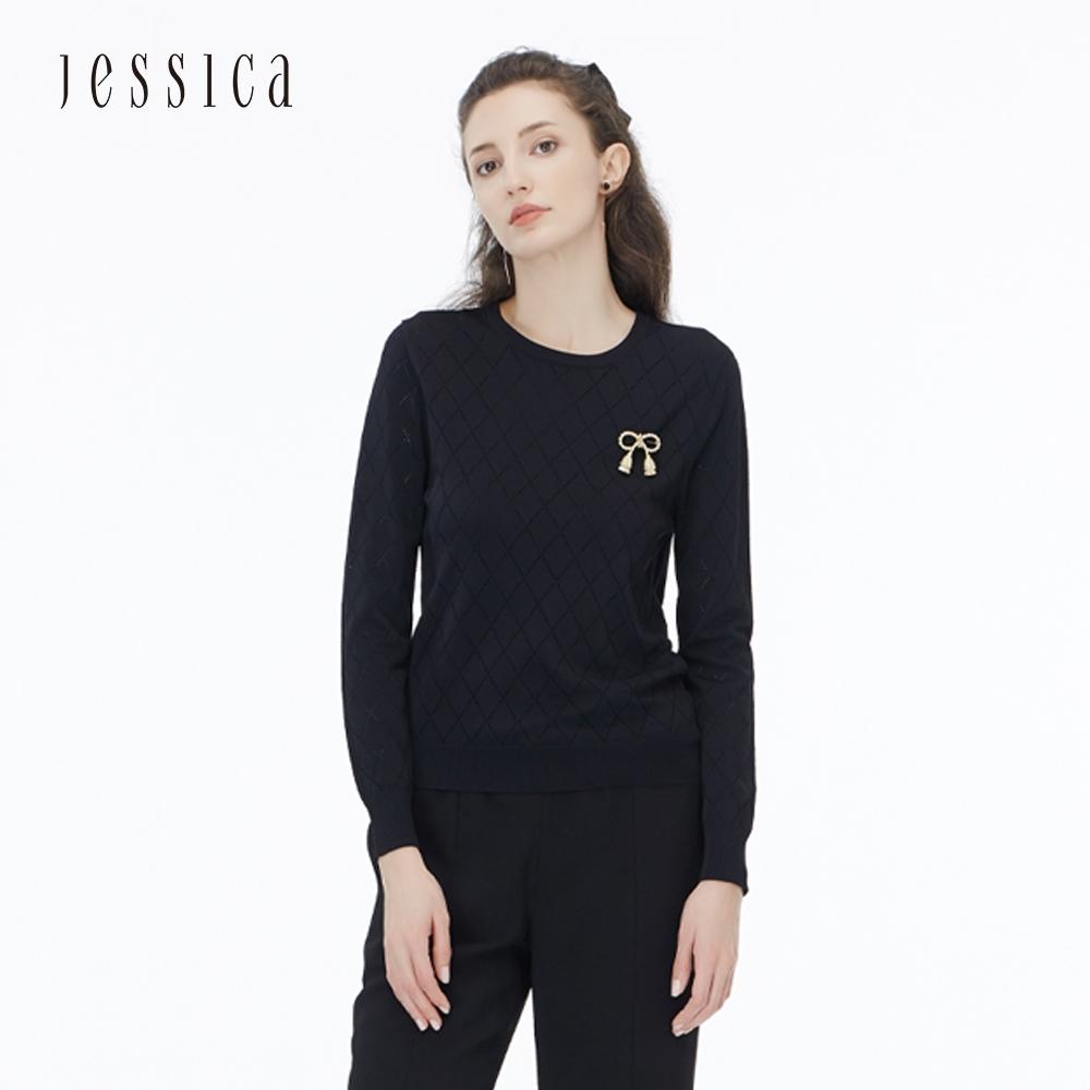 JESSICA - 黑色百搭菱格紋圓領親膚長袖針織衫