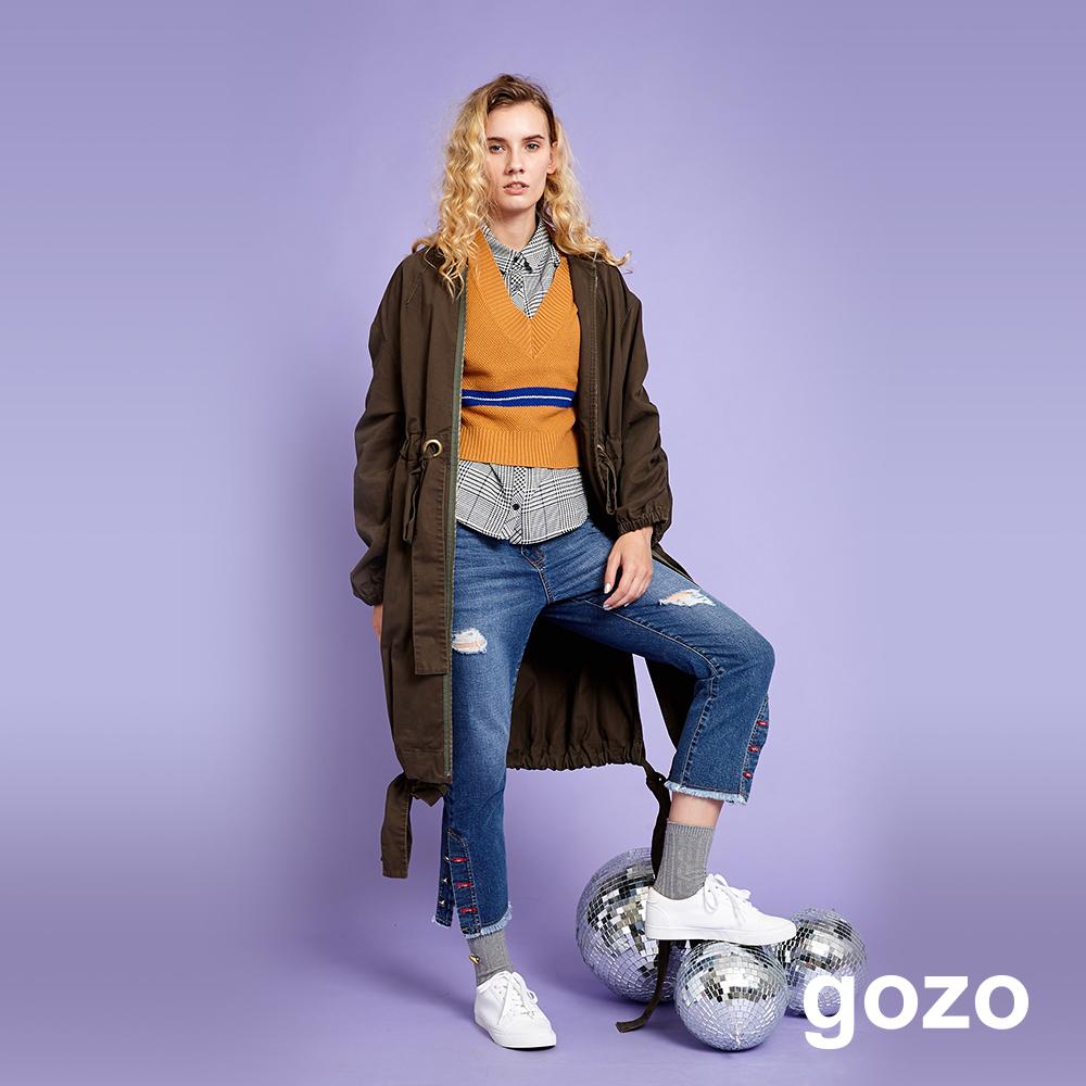 gozo 個性方領純棉抽繩風衣外套(墨綠)