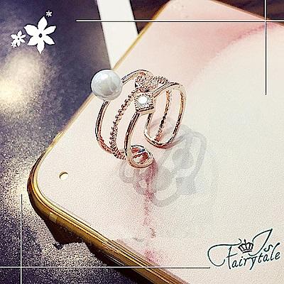iSFairytale伊飾童話 珍珠方鑽 三環玫瑰金開口戒指 13號 @ Y!購物