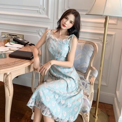 藍粉蕾絲花朵細肩帶木耳網紗高腰洋裝S-XL-Dorri