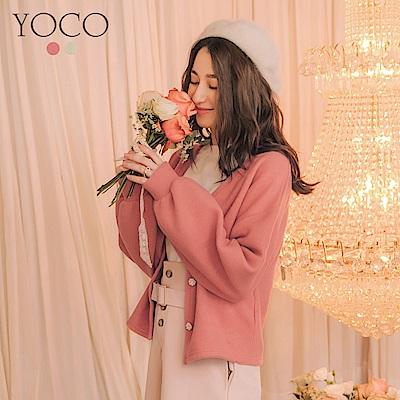 東京著衣-yoco 法式甜心磨毛舒適花朵珍珠釦外套-S.M.L(共二色)