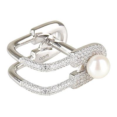 apm MONACO XL系列晶鑽鑲飾別針設計純銀珍珠戒指-銀
