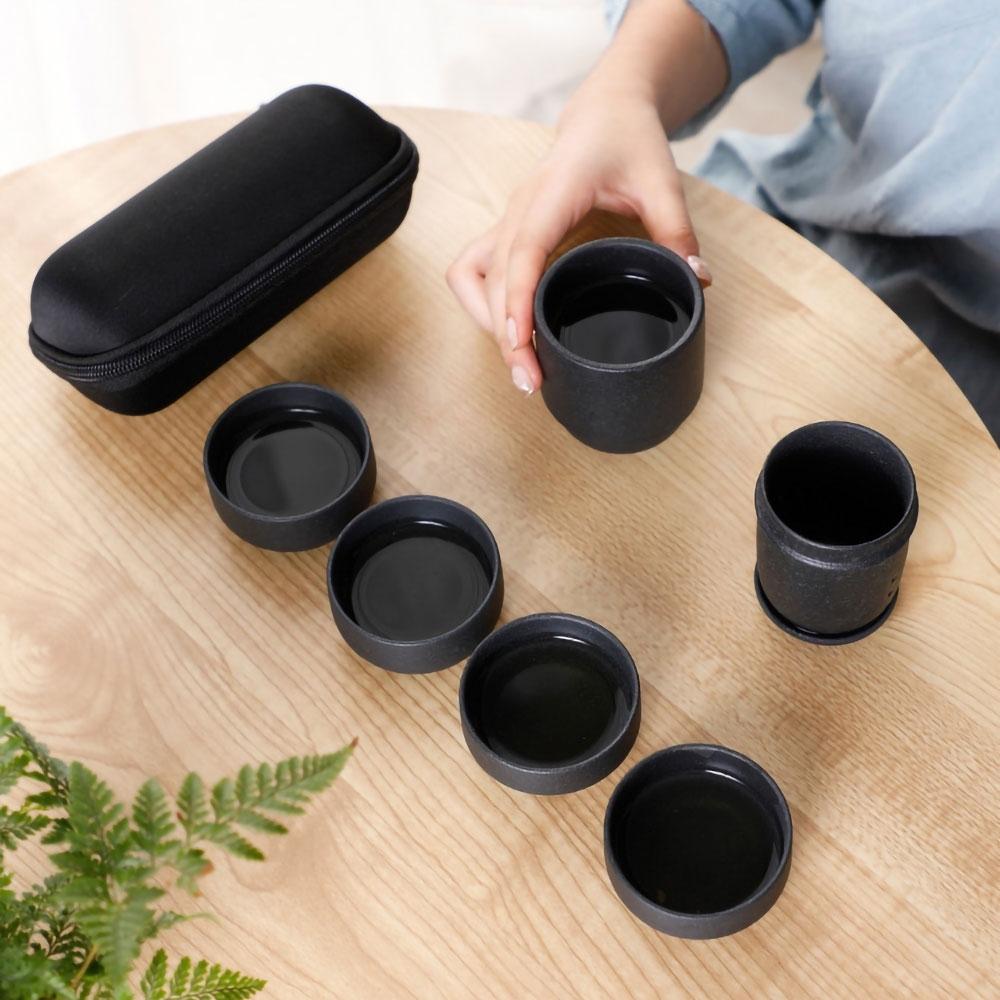 EZlife旅行便攜茶具組-黑陶款(贈乾濕分離手提包)