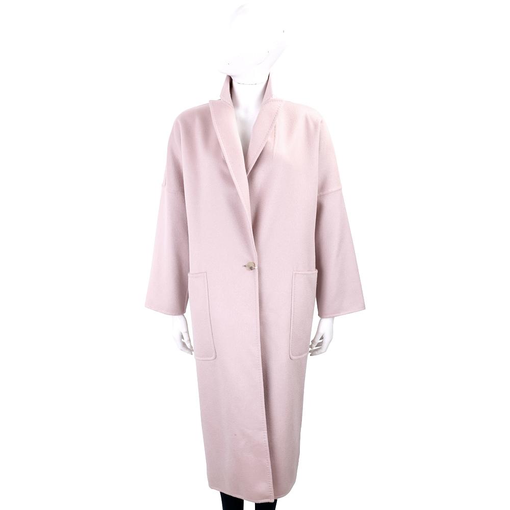Max Mara 腰釦帶設計粉色落地羊絨大衣