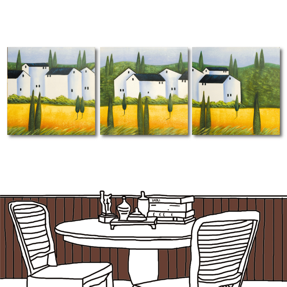 24mama掛畫 三聯式方形掛畫無框畫-白屋前的金黃稻子40x40cm