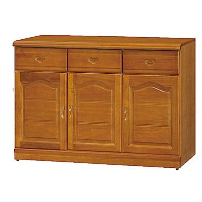 綠活居 尼圖時尚4尺實木餐櫃/收納櫃-120x42x81cm-免組