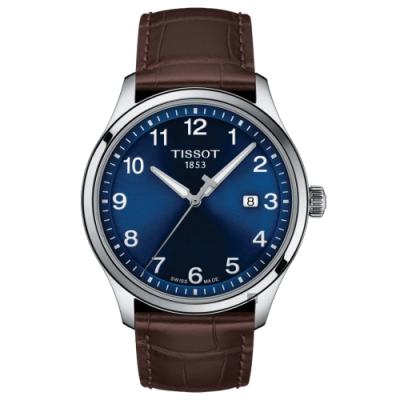 TISSOT天梭紳士XL經典石英手錶-藍x咖啡/41mm