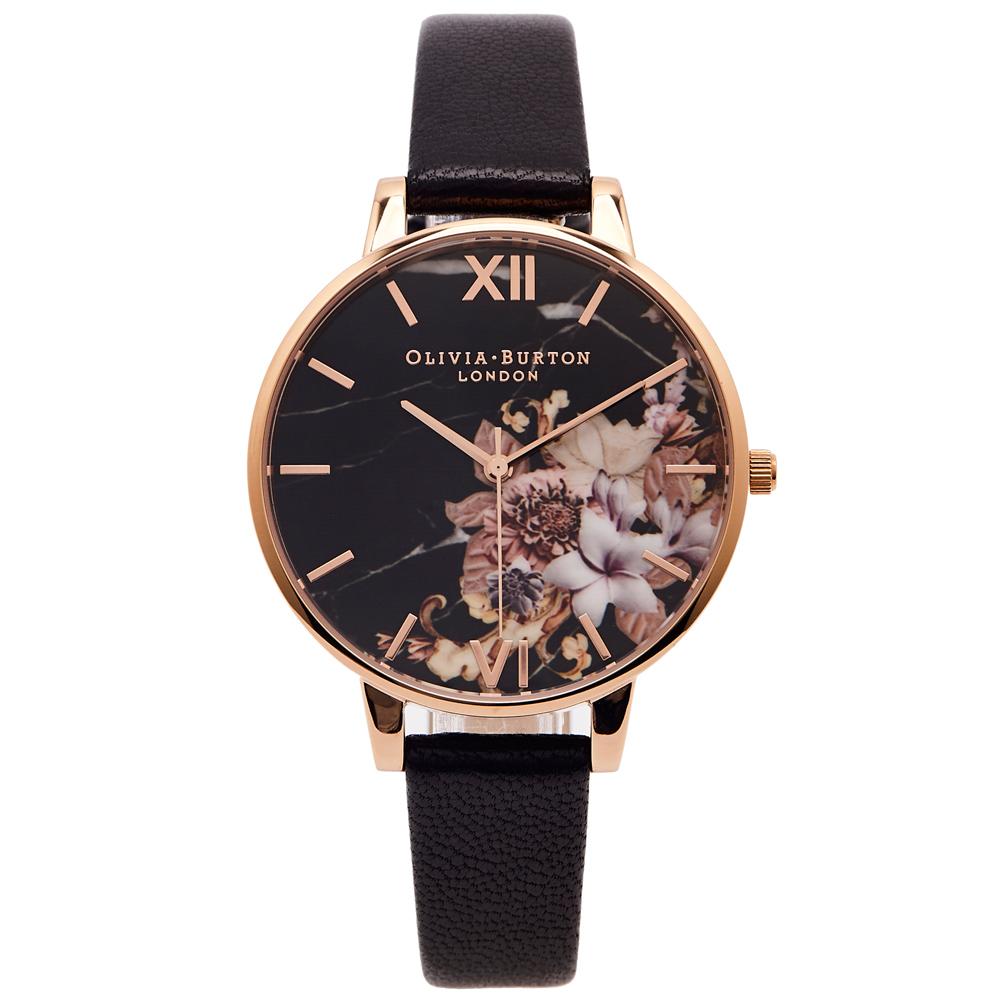 OLIVIA BURTON 黑色花香款皮革錶帶手錶(OB16CS01)-黑面/38mm