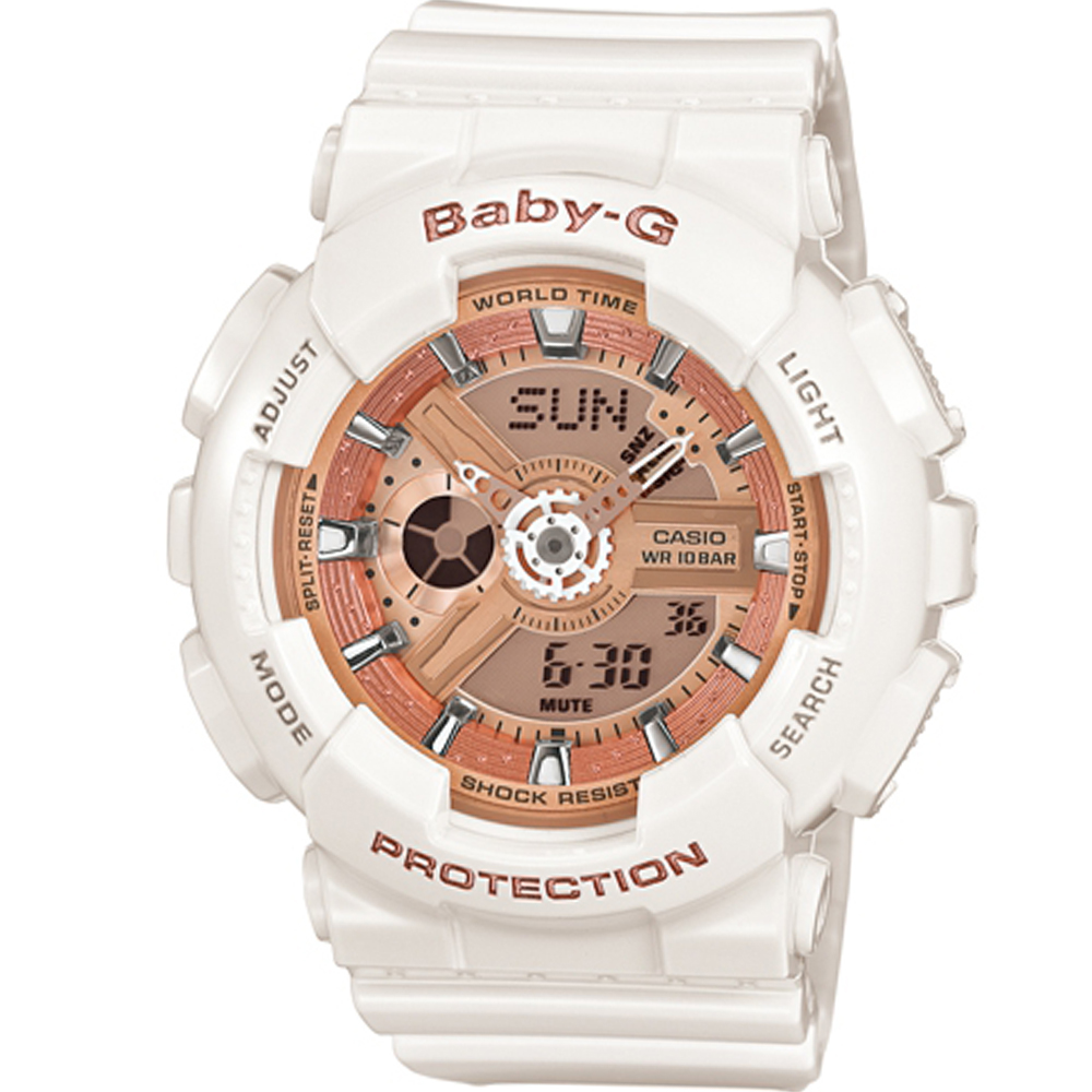 BABY-G 運動時尚腕錶(BA-110-7A1)白x橘/43mm