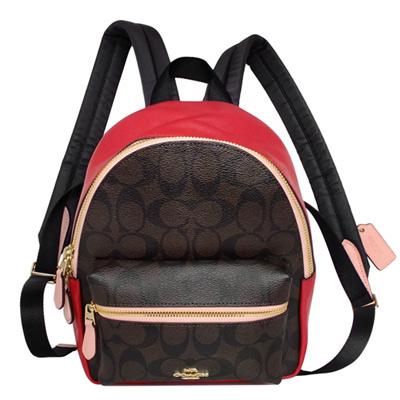 COACH深咖啡C Logo PVC撞色紅粉真皮小款後背包
