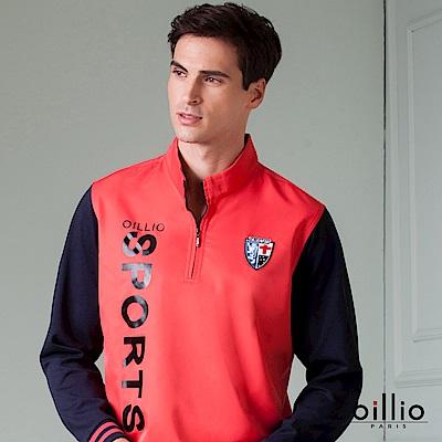 歐洲貴族 oillio 長袖T恤 防風立領 雙袖拼接 紅色