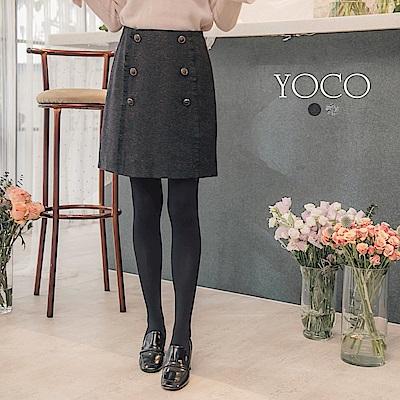 東京著衣-yoco 倫敦女孩雙排釦毛呢短裙-S.M.L(共二色)