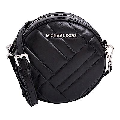 MICHAEL KORS VIVIANNE 銀字LOGO菱格紋圓形斜背包-黑