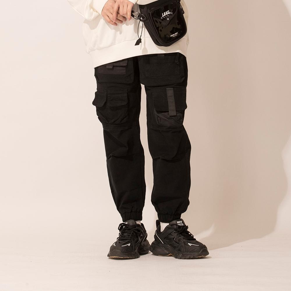 LAKING寬鬆多口袋工裝束口褲