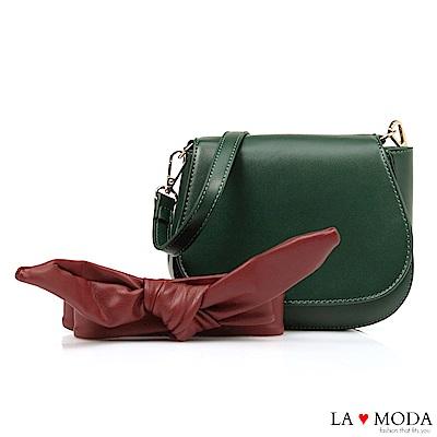 La Moda 約會不敗單品蝴蝶結裝飾背帶肩背斜背小包(綠)