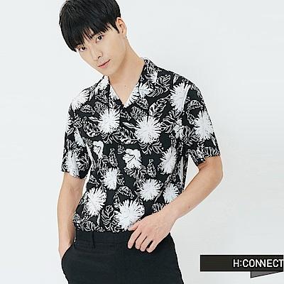 H:CONNECT 韓國品牌 男裝-黑白圖印襯衫-黑