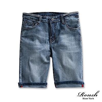 Roush 褲頭橫紋設計淺色水洗牛仔短褲