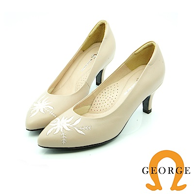 【GEORGE 喬治皮鞋】都會休閒  花朵刺繡真皮跟鞋-白