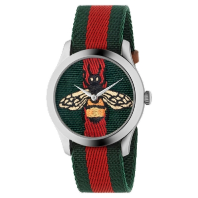GUCCI 古馳 G-Timeless (YA1264060)蜜蜂刺繡綠紅帆布款x38mm