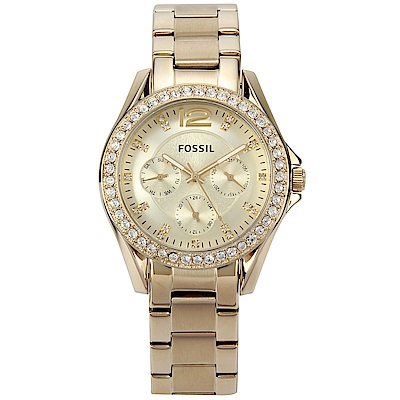 FOSSIL Riley 香檳金不鏽鋼三眼腕錶 -(ES3203)-37mm