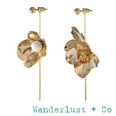 Wanderlust+Co 盛開花朵耳環 珍珠垂墜式耳環 金色 MAIA PEARL
