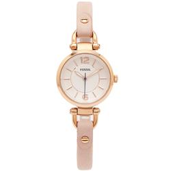 FOSSIL 都會佳人款皮革女性手錶(ES4340)-銀面X粉紅色/26mm