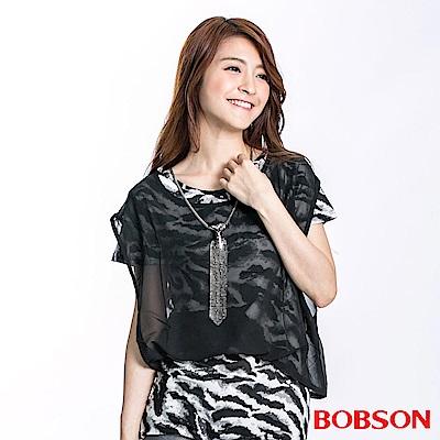BOBSON 女款仿兩件式雪紡短袖上衣(黑23127-88)