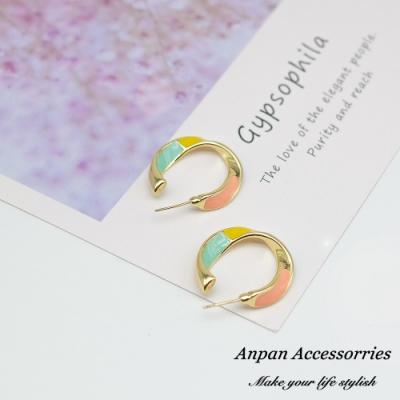 【ANPAN愛扮】韓東大門泫雅少女粉彩圓圈925銀針耳釘式耳環(兩色可選)