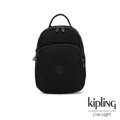 Kipling 極致低調黑雙層拉鍊後背包-SEOUL AIR S
