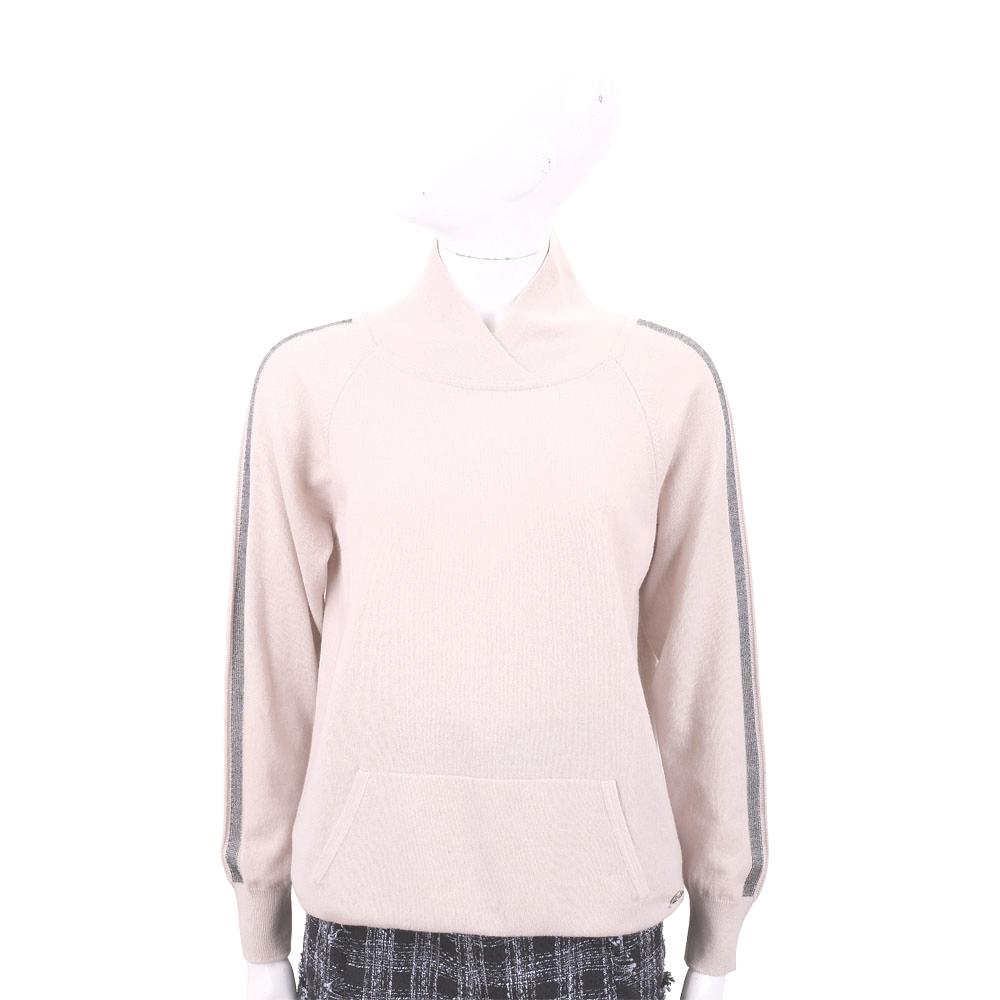 Andre Maurice 喀什米爾條紋飾裸粉色立領羊毛衫 @ Y!購物