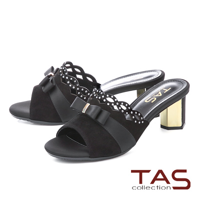 TAS蝴蝶結水鑽波浪拼接高跟涼拖鞋-經典黑