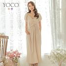 東京著衣-YOCO 古典美人V領抓皺排釦設計澎袖洋裝-S.M.L(共兩色)
