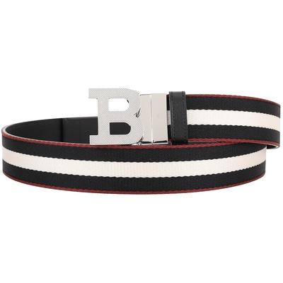 BALLY B BUCKLE 經典織紋雙面兩用腰帶(男款/黑色)