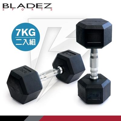 【BLADEZ】六角包膠啞鈴-7KG(二入組)