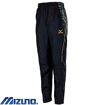 MIZUNO 美津濃 男風衣套裝褲子 黑X黑紋 32TF758799