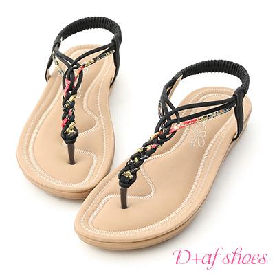 D+AF 好感夏氛.交叉花布編織夾腳涼鞋*黑