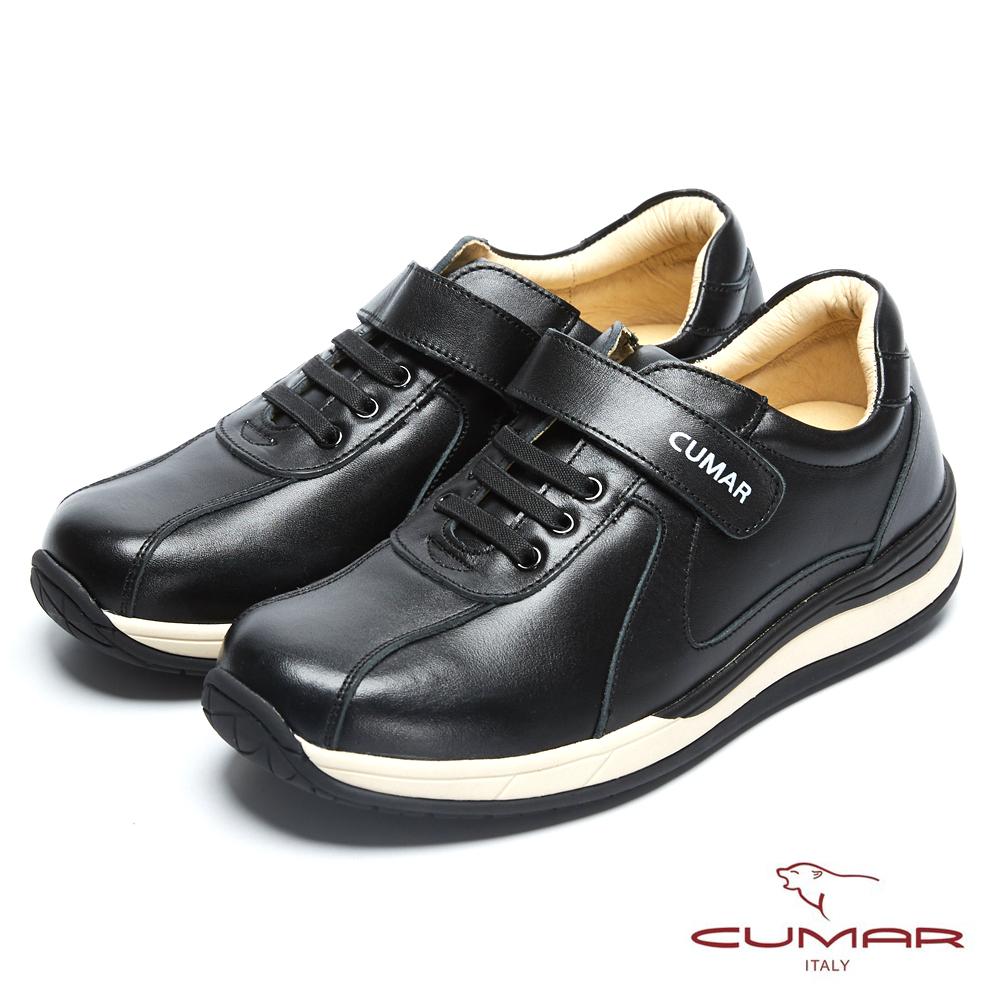 CUMAR 台灣製造 嚴選皮舒適魔術貼休閒鞋-黑